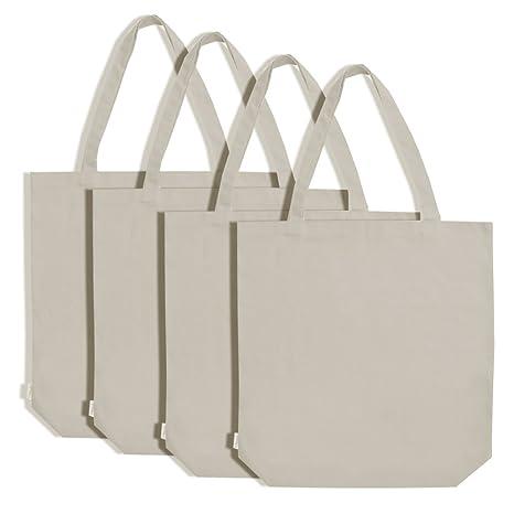 Augbunny Bolsa de la compra de lona, 100% algodón, pack de 4