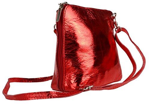 Girly metalizado Handbags Bolso Piel para rojo de cruzados mujer rr8dBqw