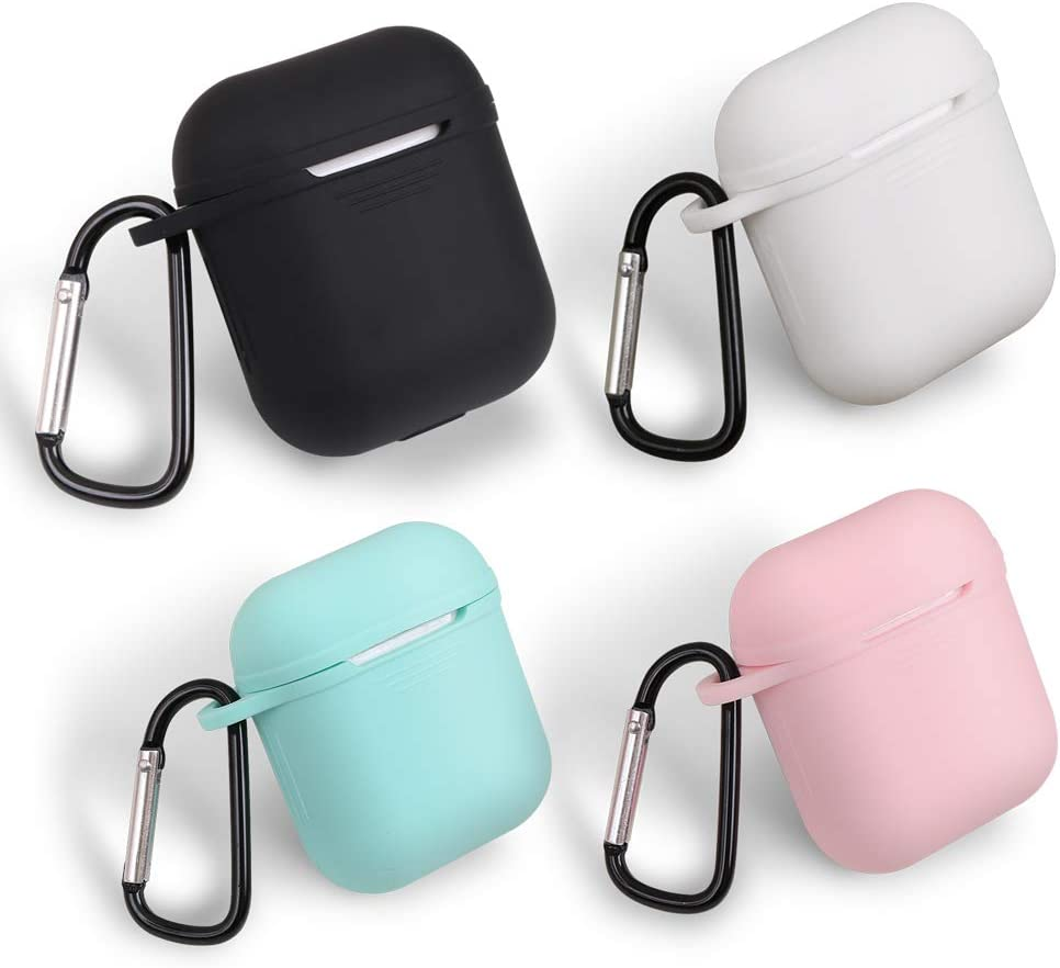 homEdge AirPods Case Bulk, 4 Packs Seamless Fit Silicone Protective Cover with D Shape Clip for Apple AirPods Case – Black, White, Pink and Mint Green