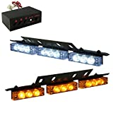 18 x Ultra Bright Amber and White LED Emergency Warning Use Flashing Strobe Lights Bar For Windshield Dash Grille