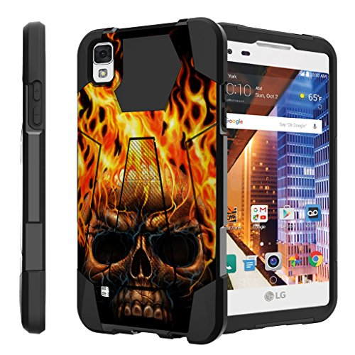 Untouchble Case for LG Tribute HD Hard Case| LG X Style Case, LG Volt 3 Case Case [Traveler Series] Durable Two Layer Bumper Shell with Kickstand - Skull on Fire (Phone Lg Volt Girls For Cases)