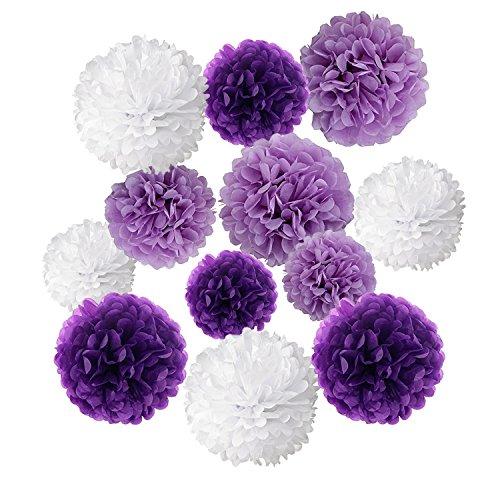 Wartoon Papel Pom Poms Flores Tissue para Decoracion de Boda, Fiesta Cumpleanos, Bienvenida al Bebe, 12 Piezas (Purpura, Purpura Clara y Blanco)