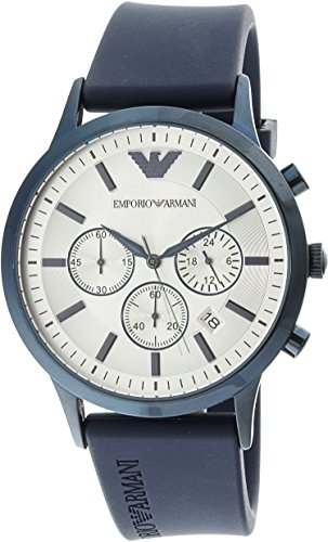 Emporio Armani Men's 'Renato' Quartz Stainless Steel and Rubber Casual Watch, Color:Blue (Model: AR11026) Emporio Armani Model