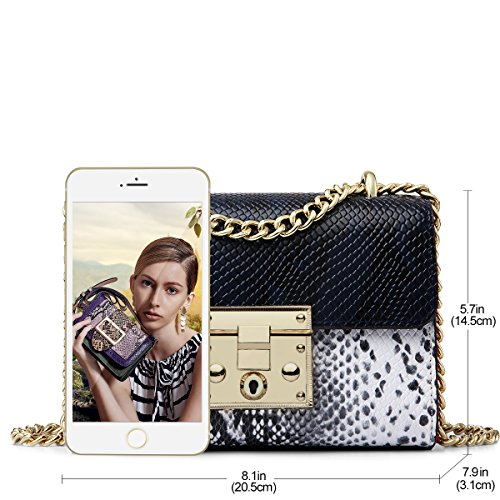 Leather Women Handbag Bags Snake Shoulder Purse Purse Chain ZOOLER Crossbody for Bags Blue FqgSRdw