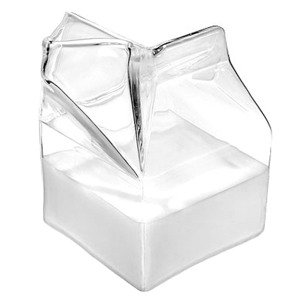 LOHOME(TM) Half Pint Creamer Glass Mini Milk Carton Container Water Glass Cup
