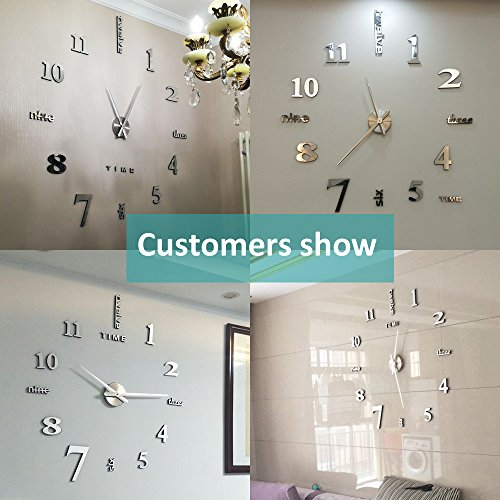 Vangold modern mute diy frameless large wall clock 3d mirror sticker metal big watches home office decorations perfect gift 2 years warranty silver