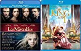 Broadway Movie Adaptation Musical Les Miserables + The King & I Blu Ray + DVD Set Movie Double Feature Bundle
