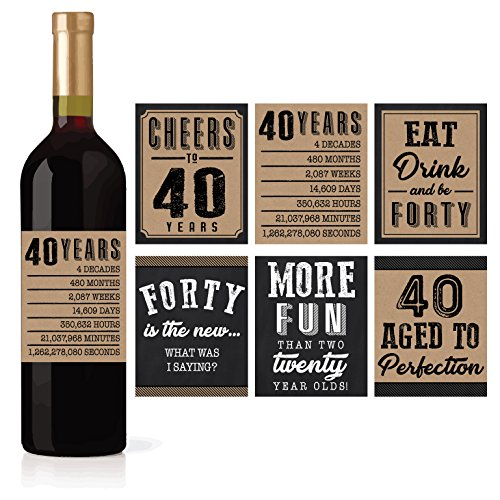 6 40th Birthday Wine or Beer Bottle Labels Stickers Present, 1978 Bday Milestone Gifts For Him Man, Cheers to 40 Years, Vintage Funny Fabulous Unique Party Decorations Supplies For Men Husband Male ()