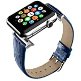 Apple Watch Band, Blue Replacement Genuine Leather Strap for iWatch 20mm with Adaper