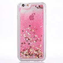 iPhone 6s plus case, MyckuuTM Soft TPU Liquid, Cool Quicksand Moving Stars Bling Glitter Floating Dynamic Flowing Case Liquid Cover for Iphone 6 plus (gold star+pink)