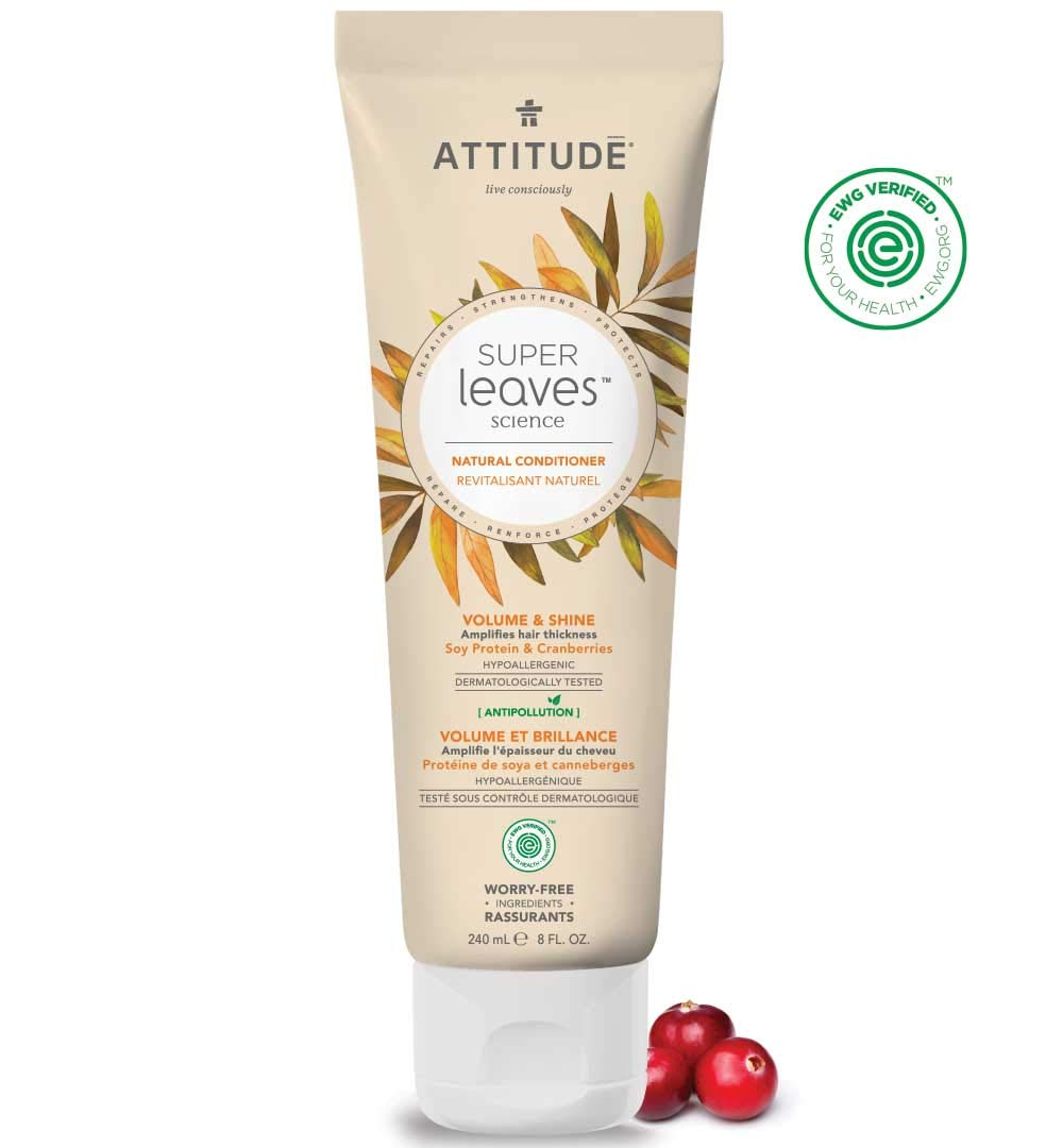 ATTITUDE Super Leaves, Hypoallergenic Volume & Shine Conditioner, Soy Protein & Cranberries, 8 Fluid Ounce