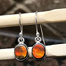 AAA Natural Canadian Ammolite 925 Solid Sterling Silver Healing Stone Dangle Earrings 20mm Long