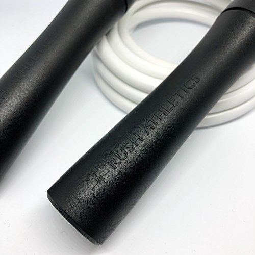 RUSH ATHLETICS Legacy Weighted Jump Rope Black/White - Best for Boxing MMA Cardio Fitness Training - Strength Speed Agility Condition - Adjustable 10ft Heavy Jump Rope Sold