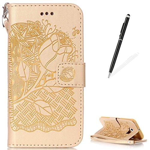 Samsung Galaxy S6 Edge PU Cuero Funda (Con Gratis Lápiz táctil) KaseHom Rosa Flor Mariposa Patrón DiseñoGrabado en RelieveEstilo de libroFolioFlip MagnéticoFunción de Soporte de Cierre con Ranur Oro # 4