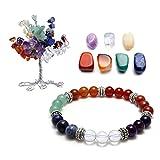 QGEM 7 Chakra Gems Set,Money Tree+ Irregular Chakra Stones+ Chakra Brarcelet Reiki Healing Feng Shui Spiritual Decor Ornaments (7 chakra)