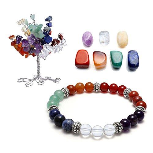 QGEM 7 Chakra Gems Set,Money Tree+ Irregular Chakra Stones+ Chakra Brarcelet Reiki Healing Feng Shui Spiritual Decor Ornaments (7 chakra) by QGEM
