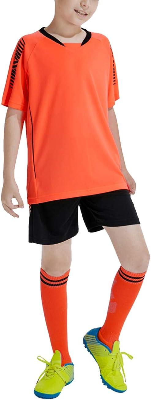 Kurze /Ärmel T-Shirt /& Shorts und Socken Soccer Uniforms besbomig Jungen Fussball Trikots Set Kind Team Training Wettbewerb Sportbekleidung