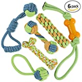 Dog Rope Toys - Puppy Chew Toys Set of 6 -Durable Cotton Dog Toys for Small and Medium Breeds-Rope Toys for Training Tug-of-War Playing-Toys for Large Aggressive Chewers-1