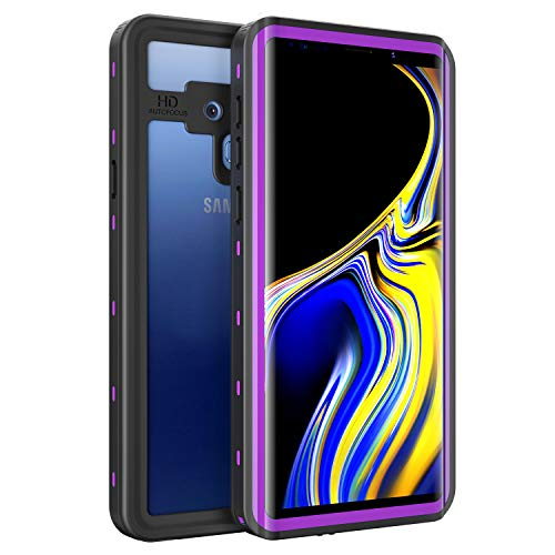 Waterproof Case for Samsung Galaxy Note 9, Fansteck IP68 Waterproof/Snowproof/Shockproof/Dirtproof, Fully Sealed Underwater Protective Cover for Samsung Galaxy Note 9 (6.4-inch) (Black/Purple)