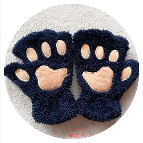 Welcome the good future Women Girls Lovely Winter Warm Fingerless Gloves Fluffy Bear Cat Plush Paw Claw Half Finger Gloves,Navy Blue