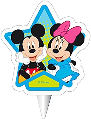 Dekora Mickey y Minnie Vela de Cumpleaños 2D Mickey & Minnie Mouse, Cera, Multicolor, 7.5