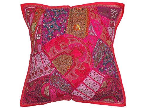 NovaHaat Magenta and Pink Patchwork Tapestry Floor Pillow Cover - Beaded Decorative Sari Pearl Work Ethnic Indian Large Square Euro Sham ~ 26 Inch x 26 Inch