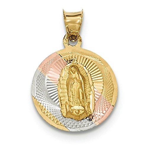 Or 14carats et rhodium Poli et Dame de Guadalupe en cercle pendentif