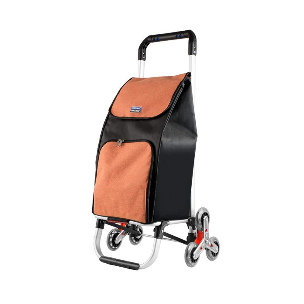 折りたたみ食料品買い物かごトロリーアルミニウム合金プルロッド登山階段ユーティリティカートリムーバブルバッグ (色 : Orange) B07H7Z1SMM Orange
