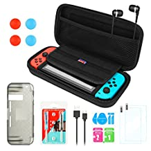 AGPtEK 17 in 1 Accessories Kits for Nintendo Switch, Nintendo Switch Carrying Case+ Metal Lock Buckles Repair Tool (Set)+ 2 Switch Screen Protector+ TPU Case+Charging Cable+ Earphone with MIC (Black)