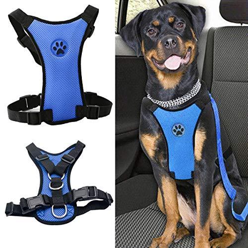 - MASO Dog Safety Car Vest Harness Pet Dog Adjustable Car Mesh Harness Seat Belt Travel Strap Vest with Car Seat Belt Lead Clip for Trip, Daily Use, Road Travel Walks, etc.(M,Blue)