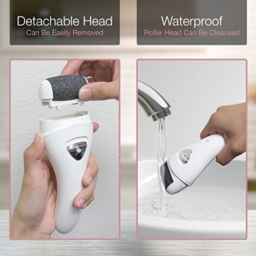 Electric Foot File, Rechargeable & Waterproof Callus Remover Pedicure Tools Ideal for Dead, Hard and Cracked Skin with Extra Roller Head and Cleaning Brush & Upgraded Two Speed Motor by LP LivingPro (Image #7)