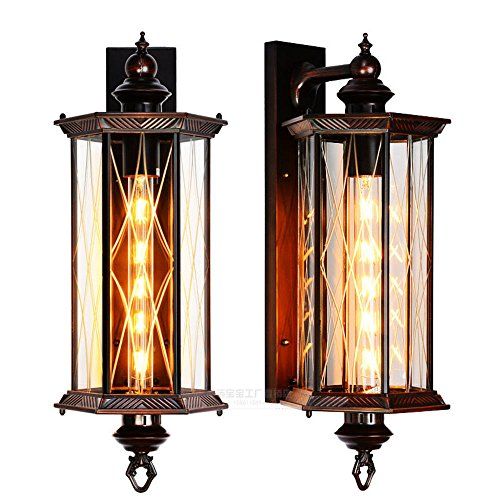 - CGHYY Industrial Wall Light Shade Vintage Style Creative Outdoor Waterproof 6-Side Engraved Flower +Led Flute Wall Lamps Waterproof Security Lamp Outdoor Wall Light for Patio Deck Garden Garage,Wall,