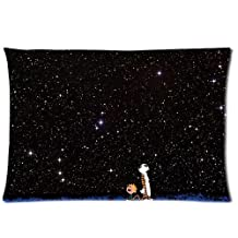 Cartoon Calvin and Hobbes Forever Good Friends 2 Sides 20X30 Inch Zippered Soft Cotton Pillow Covers Decorative Cushion Covers