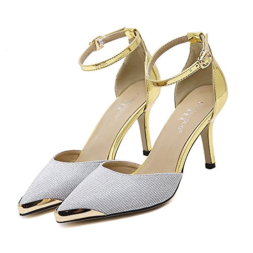 Meeshine Women's Pointed Toe Dress Sandals Ankle Strap Glitter High Heel Plaform Pump Shoes