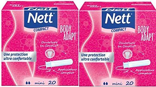 Nett - Body adapt, mini tampones con aplicador compacto, 2 cajas de 20 unidades: Amazon.es: Alimentación y bebidas