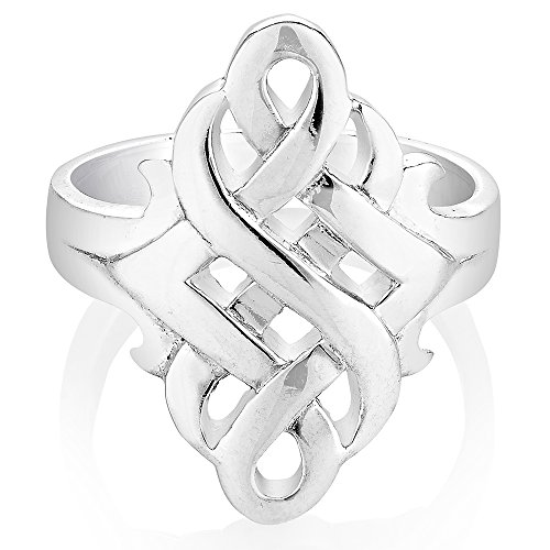 925 Silver Celtic Weave Ring - 925 Sterling Silver Open Celtic Knots Symbol Band Ring Size 8