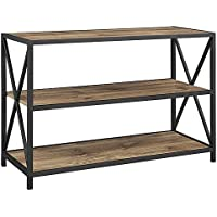 New 40 Inch Wide X-Frame Metal Bookshelf in Barnwood Finish