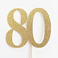 Gold Glitter 80 Cake Topper, 80th Anniversary, Eightieth Birthday, Eighty