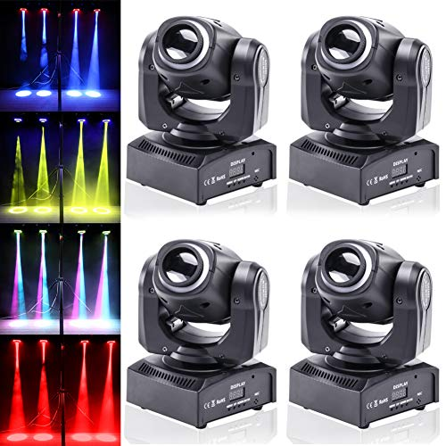(4pcs One Set Stage Lights, 50W Portable LED Spot Moving Head RGBW 4 Color Light with Colorful Ring 10/12 Channels for Party Disco Dj Show DMX-512 by U`King)