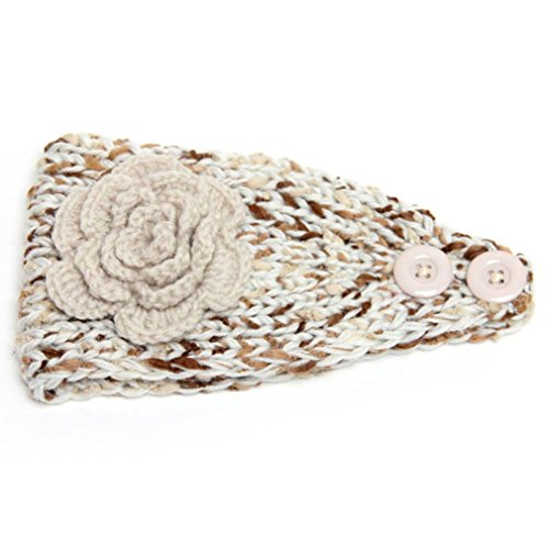 DZT1968® Women's Girl's Wide Flower Knit Turban Headband Head Wrap Hairband Cap (Beige)