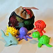 BeginAgain Bathtub Pals 5 Pc Gift Set - Eco Friendly Rubber Bath Toy - Diver, Octopus, Sea Turtle, Puffer Fish, Shark