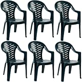 Resol Palma Garden Chair – Pack of 6 Plastic Green