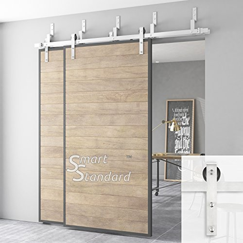 """SMARTSTANDARD SDH0066BYPASSSTAIN03 Bypass Double Sliding Barn Door Hardware Kit, 6.6ft DoubleRail,Stainless Steel, Super Smoothly and Quietly, Simple and Easy to Install, Fit 36""""-40"""" Wide DoorPanel"""