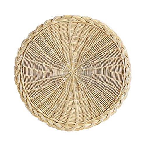 Placemat Basket - Natural Round Hand-woven Rattan Placemats Insulation Pad,Natural Color,20CM