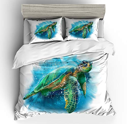 Vichonne Sea Turtle Bedding Sets for Kids Twin Size,3 Piece Colorful Beach 3D Ocean Turtle Duvet Cover Sets with 2 Pillowcases for Teens Boys Girls Bedroom Decorative,No Comforter -