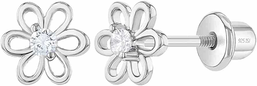 Amazon Com 925 Sterling Silver Clear 6mm Cubic Zirconia Lovely Flower Dainty Prong Stud Screw Back Earrings For Toddlers Young Girls Pre Teens Hypoallergenic And Safe For Sensitive Ears Jewelry