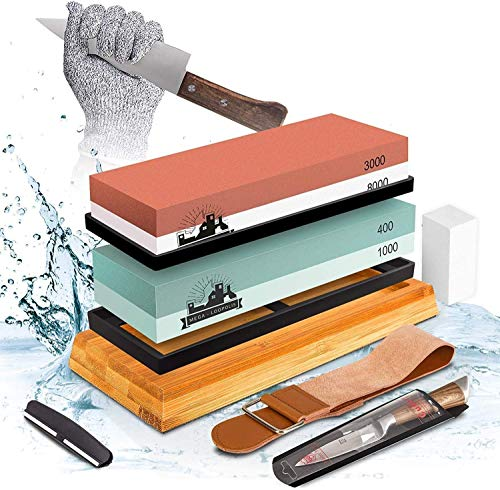 Mega-Loopolis Knife Sharpening Stone set,4 Side Grit 400/1000 3000/8000 Knife Sharpener Whetstone Kit With Cut-Resistant Gloves,Knife, Bamboo Base,Flatting Stone,Angle Guide and Leather Strop(type A)