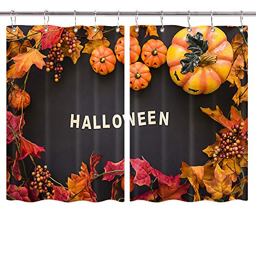 Halloween Pumpkin Kitchen Curtains, Vintage Country Thanksgiving Autumn Farm Pumpkin Harvest Maple Window Curtain Panel, Kitchen Decorations Window Drapes, Window Treatment Sets with Hooks, -