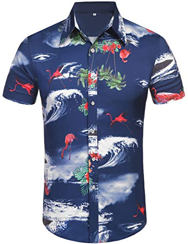 Daupanzees Men's Hawaiian Flamingos Shirts Floral Printed Tropical Unisex Casual Short Sleeve Aloha Vacation Button Down Island Shirt (Navy Blue XXL)
