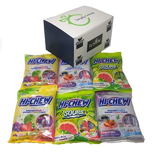 Hi Chew Candy 3 Flavor Variety Pack Bundle (2x Sours, 2x Yogurt Mix, 2x Original Mix) in Fusion Select Gift Box